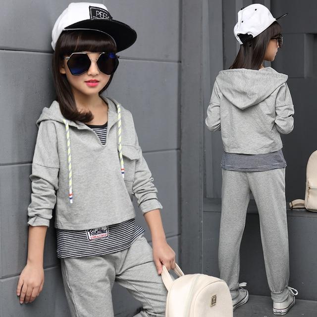 Teenage Girls' Clothing Set Autumn New 2016 Kids Girls Clothes Sports Suit Striped Vest+Hoodies+ Pants 3 pieces Girls School Set