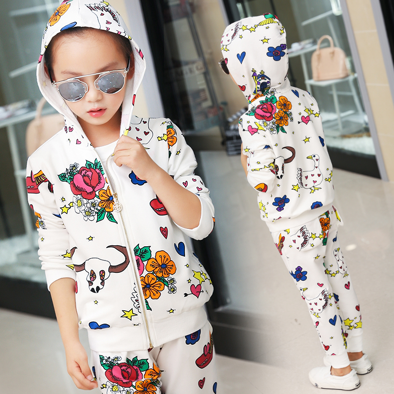 ФОТО 2017 new fashion spring childern leisure clothing set baby girls Colorful flower print suit kids long-sleeves clothes suit