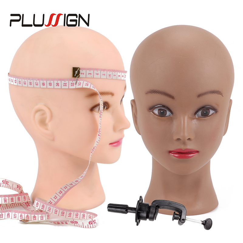2020 Newest Top Manikin Head With Display Stand Wig Foam <font><b>Block</b></font> Head Dark Brown Color For Black People Making Wigs 20.5Inch image