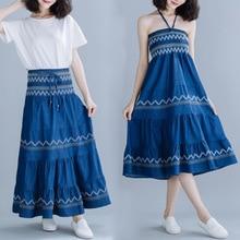 2019 Summer Woman High Waist Vintage Blue Skirt Geometric Print Embroidered Drawstring Long A Line Skirt Slim Fit Holidays Skirt недорого