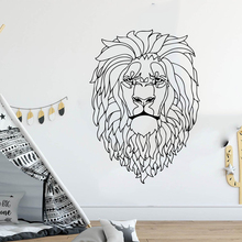 Large  Safari Geometric Lion Head Wall Decal Nursery Kids Room Cartoon Africa Animal Jungle Sticker Vinyl Decor