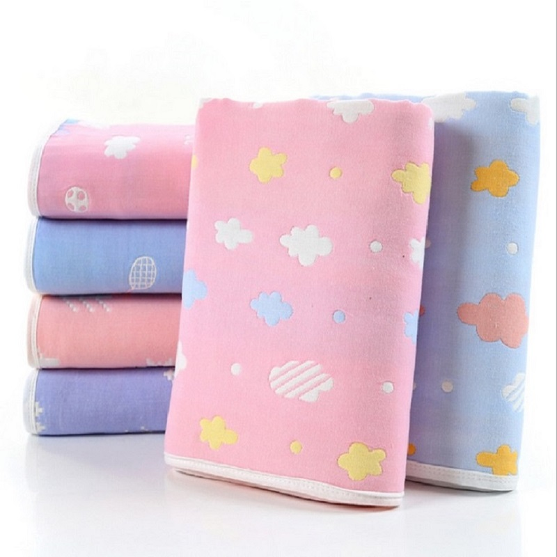 80*80cm Baby Blankets Newborn Baby Swaddle Wrap Soft Muslin Cotton 6 Layers Thick Baby Bedding Receiving Blankets Baby Wraps