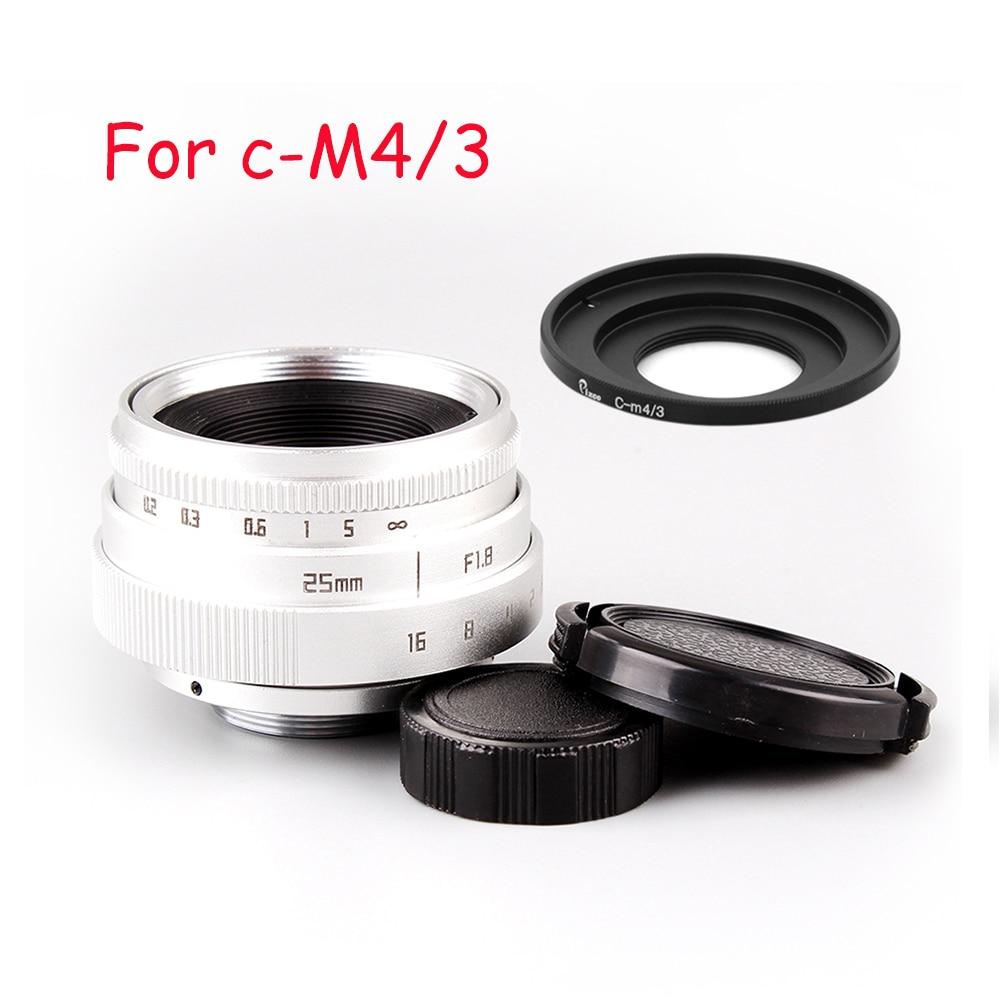 Venes Silver 25mm f/1.8 APS-C TV Lens+Lens Hood+Macro Ring+C to camera adapter for Nikon1/M4/3 /For Pen Q/ for Fuji/ for eos цена