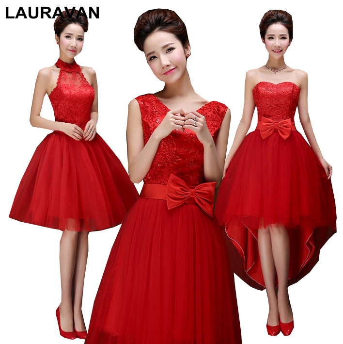 2019 Red Vintage Shoulder Bridesmaid Dress Bridesmaids Birthday Party Dresses Red Knee Length Ball Gown For Weddings