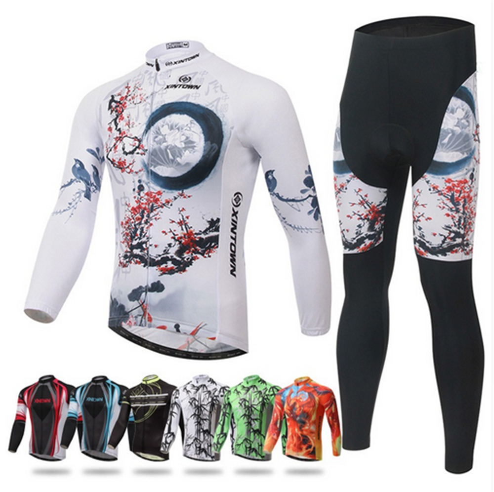 XINTOWN Winter Thermal Riding Wear mountain bike Bicycle Long Sleeved Suit Cycling Clothing Jersey Long Sleeve Jerseys and Pants eeda sports poncho jacket hooded split windshield waterproof raincoat riding mountain bicycle bike cycling raincoat jersey