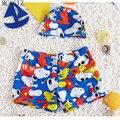 Novo 2016 Crianças Asseclas Menino Swimwear Crianças Verão Moda Natação Troncos Meninos Maiô de banho 2 pcs Curto + Cap