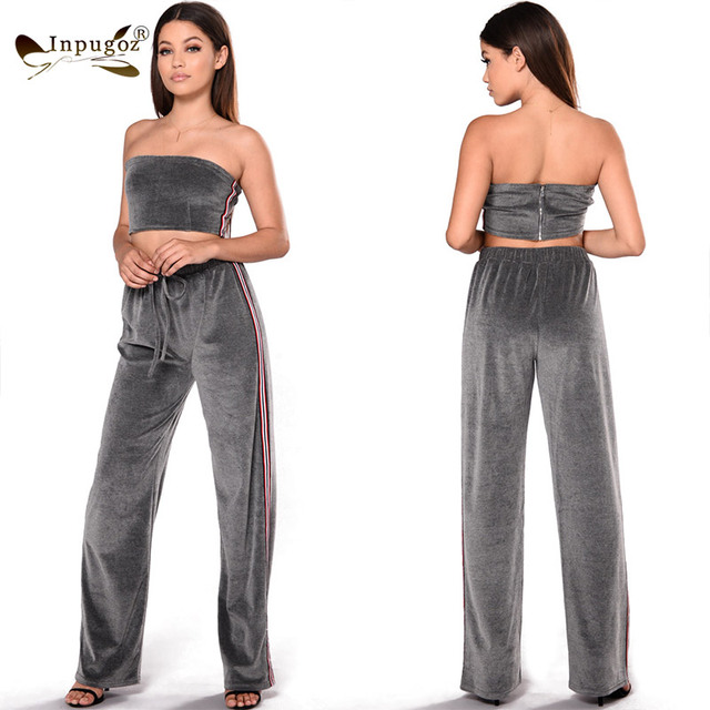 0044a065f4 Strapless Top With Pants Women Autumn Winter Velvet Outfits New Casual  Women Pant Suits