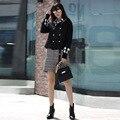 2016 Осень Новый Европа Мода Тяжелая Промышленность Лук Сельма Двубортный Полный Рукав Оборками Темперамент Шерстяные Длинные Пальто Женщин
