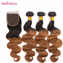 Miss Rola Hair Malaysian Body Wave Hair Weaving 3 Bundles  With Closure #T1B/30 Color  100% Human Hair  Non-Remy Hair Extensions
