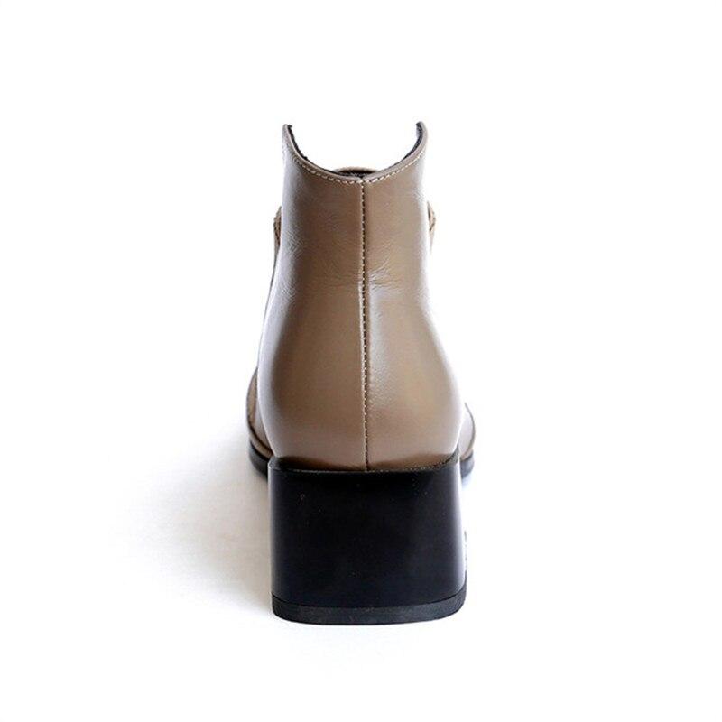Smirnova Kaki Pour Élégant Pointu Mode Bottes Bout Chaude En Bottines Automne Dames Cuir Femme 2018 Haki Chaussures Véritable Couture htsdQr