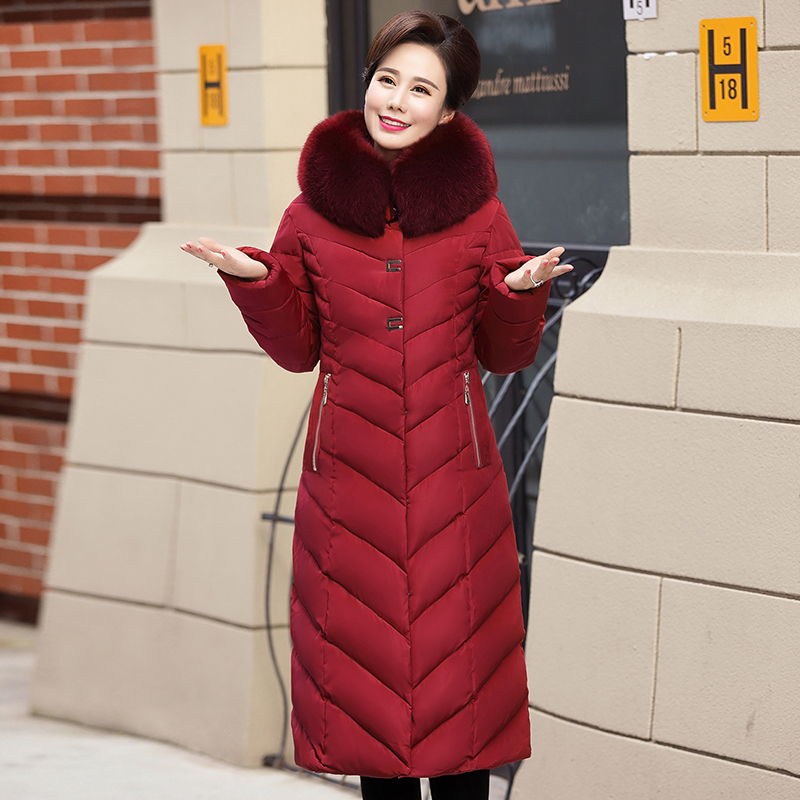 Women Thicken   Parkas   2018 New Ladies Faxu Fur Hooded Collar Winter Coats Long Warm Cotton Jacket Female Outerwear Clothing 5XL