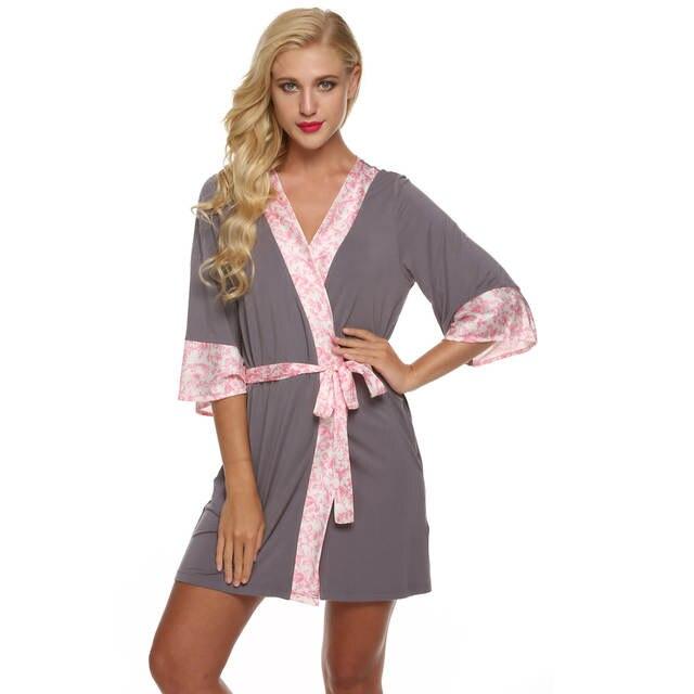 Online Shop Ekouaer Women Bathrobe Sexy Kimono Robe flower Short Lingerie  Babydoll Nightdress Rayon Silk Sleepwear Dress V-Neck Bath Robe  070a3102a