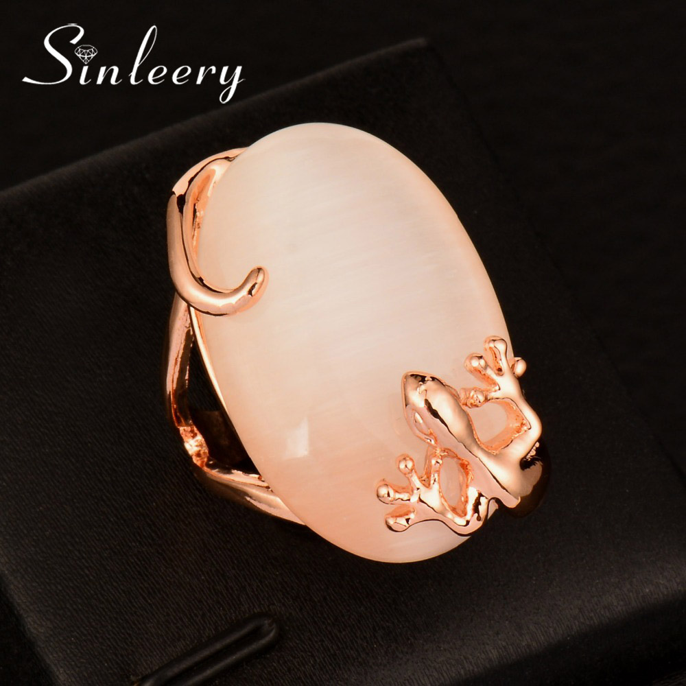 Sinleery Vintage Big Oval Opal Stone Ring For Women Rose