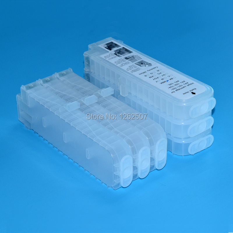 Empty ink cartridge pfi105 refill ink cartridge without chip for canon ipf 6300 ipf 6350 printer ink box bulk cartridges 12 pieces lot with chip refill ink cartridge for canon pfi 101 for canon ipf5000 ipf6000 printer