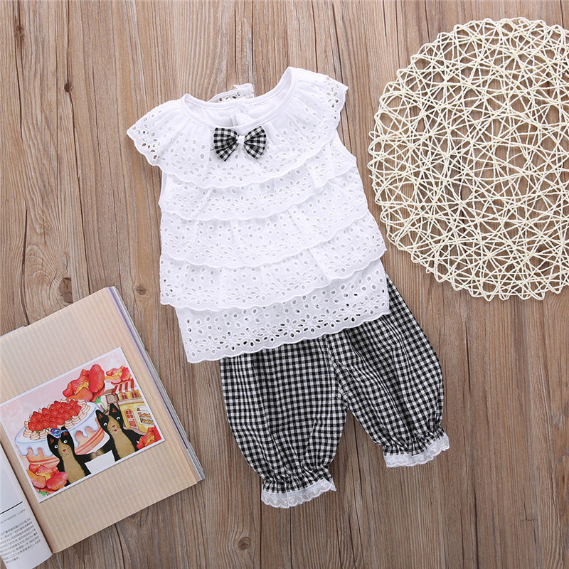 2PCS Toddler Kids Baby Girls Outfit Clothes Cute Lace Plaid Sets Sleeveless shirt Tops+ short Pants Trousers Hot Sale