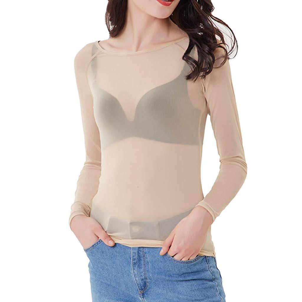 & 40 mulheres sexy topos blusas transparentes ver através de malha em torno do pescoço manga longa sheer camisa das senhoras magro blusas mujer 2019