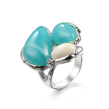 BOHO Mystic Aqua natural stone Oval silver Rings For Women 925 jewelry Filled Large Stone Wedding Ring Female blue stone Rings venidy female natural resizable opal ring fashion red 925 sterling silver jewelry vintage wedding rings for women birthday stone