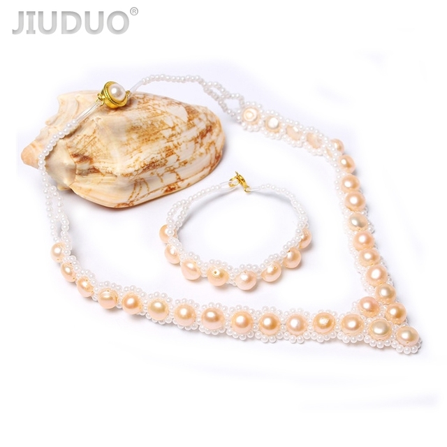 Natural Pearl Jewelry Set Necklace Ring Earrings Bracelet twe  Piece Set Three of them Silver Accessories Flannel Gift Box