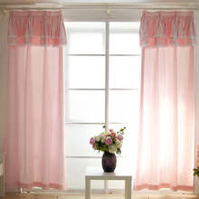 one pair Eco friendly New finished Cotton fiber pink curtain children bedroom with valance 70 shade