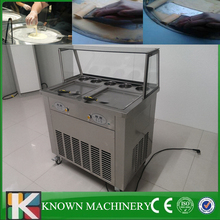 Commercial pedal defrost customized 2 pans with 5 cooling tanks fried ice cream machine price 110v/220v