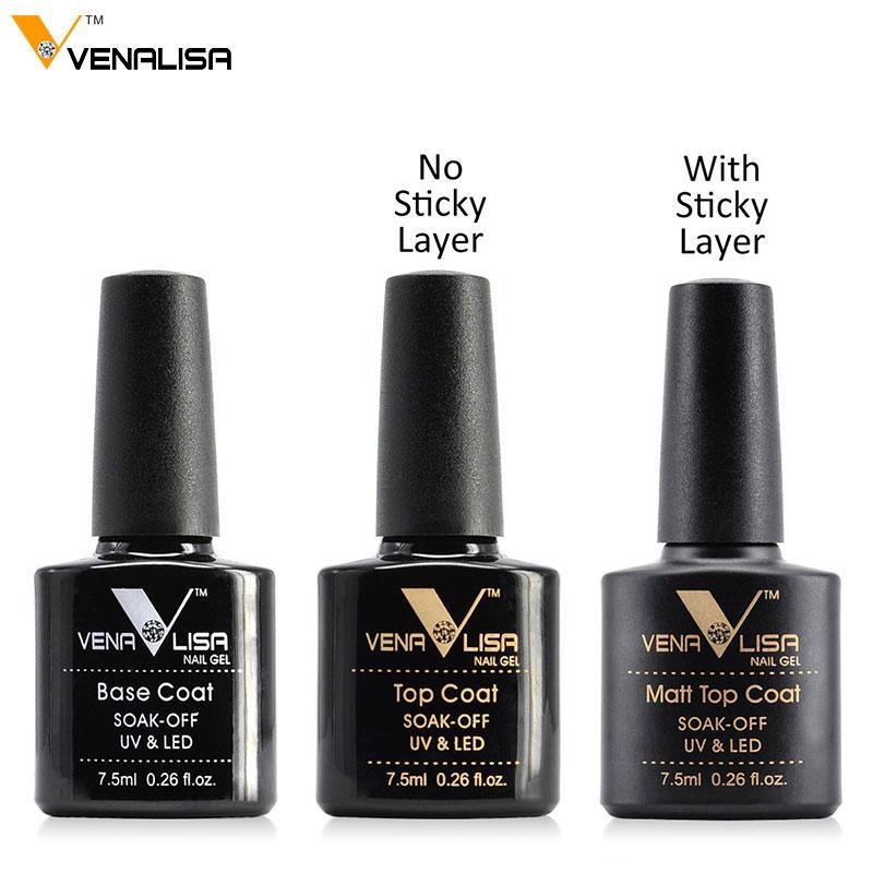 ee151df2d416 #61508 Venalisa гелевых ногтей 7,5 мл Top Coat топ + базовый слой основой  для UV гель-лака best на али Новый стиль лак для ногтей Лаки