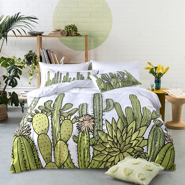Fanaijia cactus duvet cover set with pillowcase 3D Printed plant Bedclothes Bedding Set king size  bedline Home textile
