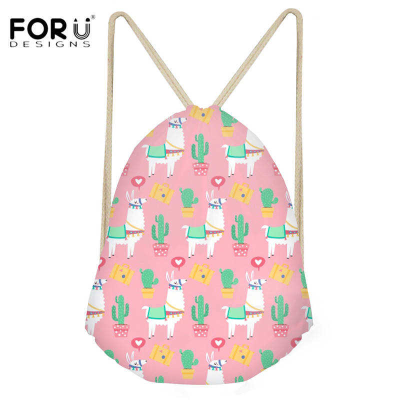 FORUDESIGNS Women Pink Drawstring Bags Cartoon Alpaca Pattern Cute String Backpacks For Youth Girls Casual Beach Rucksack Bolsa