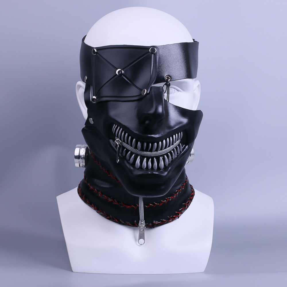 Newest Tokyo Ghoul 2 Kaneki Ken Masks Latex Zipper Adjustable Cosplay Cool Masks Halloween Party