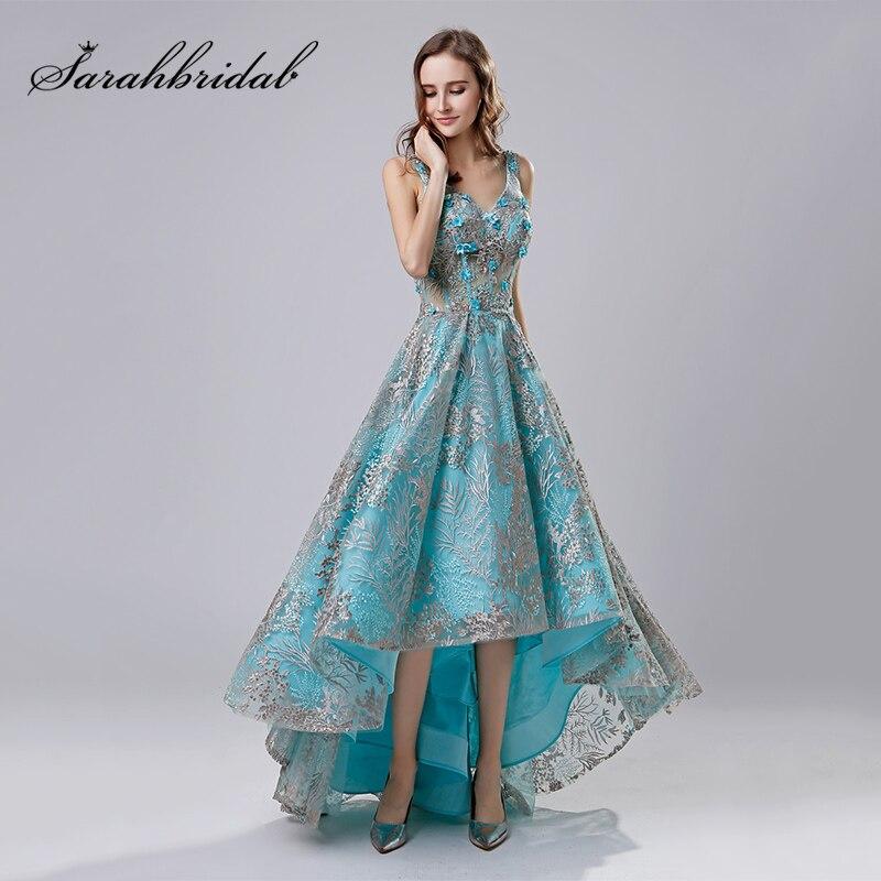2018 Short Fashion Lace Appliques Evening Dresses High Low ...