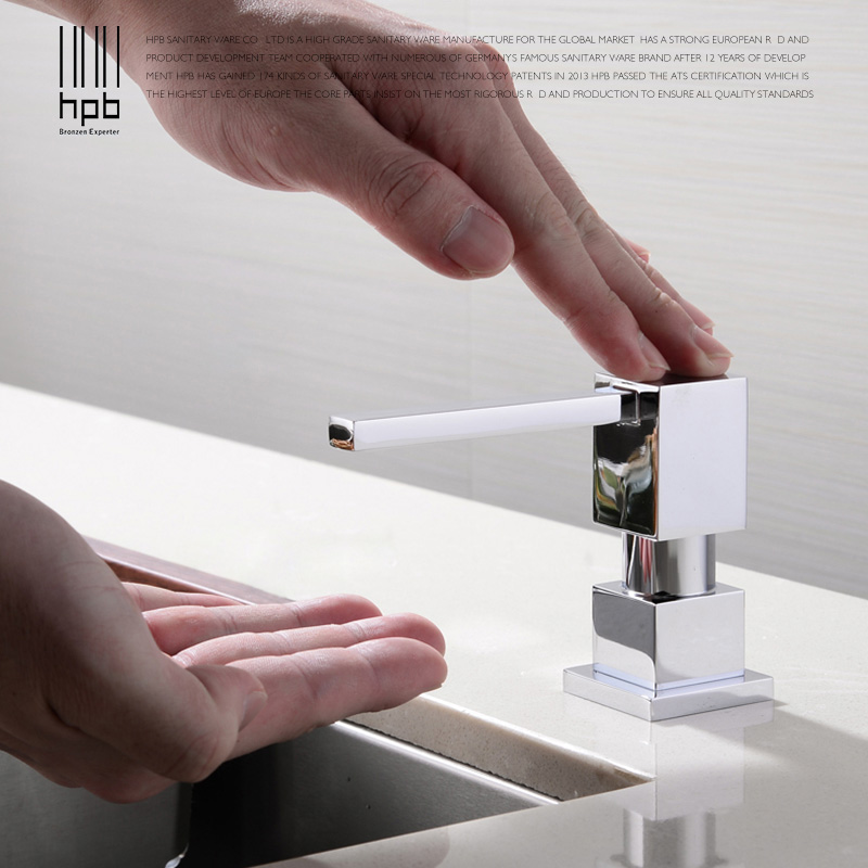 HPB Kitchen Soap Dispensers Deck Mounted Chrome Polished Soap Dispensers for Kitchen Built in Countertop Dispenser H4501 in Kitchen Soap Dispensers from Home Improvement