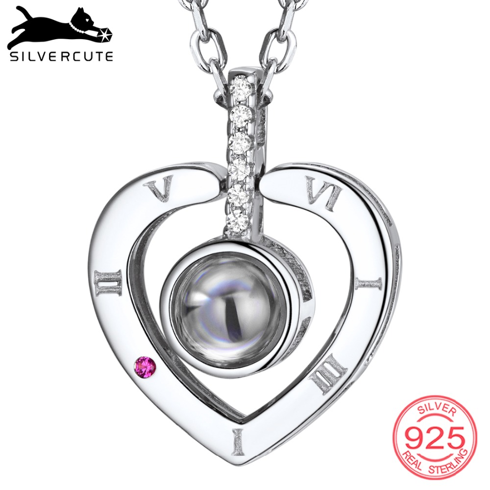 SILVERCUTE 925 Sterling Silver Heart Necklace & Roman Letters Nano Engraved Jewelry Custom Name Necklaces Women Gift SCIP6508BSILVERCUTE 925 Sterling Silver Heart Necklace & Roman Letters Nano Engraved Jewelry Custom Name Necklaces Women Gift SCIP6508B