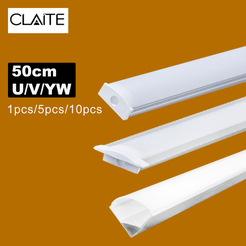 New 1x 2x 3x U V YW Three Style 50cm Aluminium Channel Holder For LED Strip Light Bar Under Cabinet Lamp Kitchen 1.8cm Wide