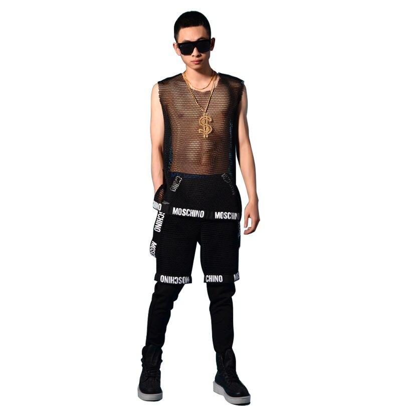 Hommes Maille Débardeurs Pantalon Mâle De Mode Hip Hop Casual T-shirts Scène Danseur Chanteur Costumes Discothèque Bar DJ Chanteur vêtements