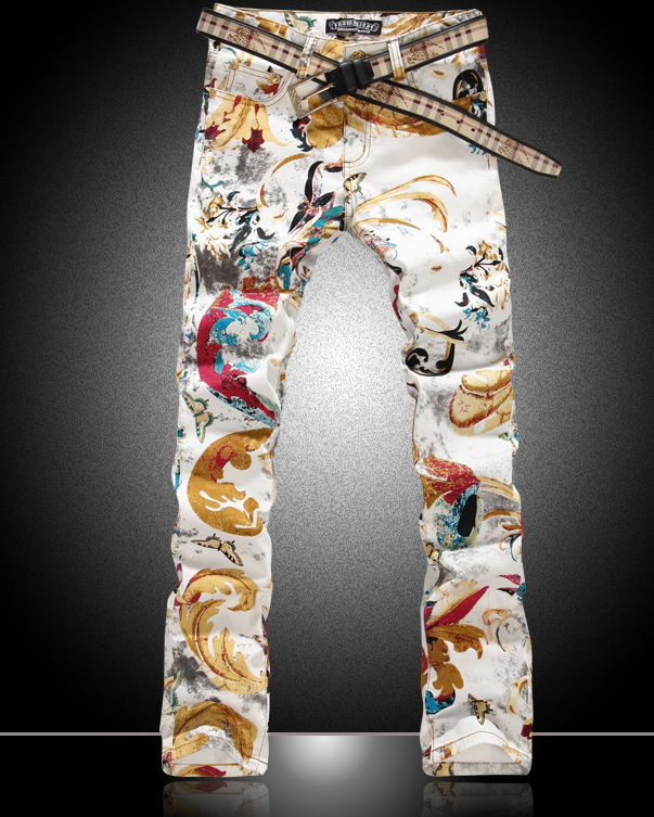 Hot sale new men colorful Butterfly print jeans fashion slim gold denim trousers hot sale new arrival men cutout jeans fashion embroidery pencil trousers