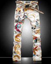 Hot sale  new men colorful Butterfly print jeans fashion slim gold denim trousers