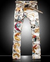 Горячие продажа новые мужчины красочные Бабочки печати джинсы мода тонкий золото джинсовые брюки