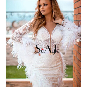 Image 5 - SoAyle Luxurious Red Evening Dresses 2018 V neck  Long Sleeves Vestidos de festa longo Feathers Beading Fashion Prom Dresses