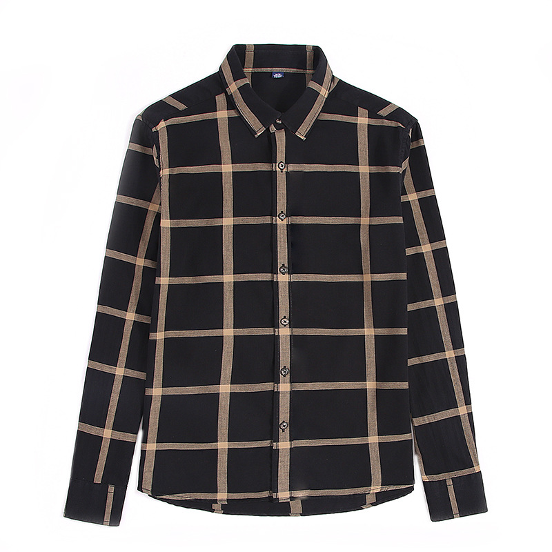 Spring Wholesale Casual Flannel Shirts Single Breasted long sleeve Full thick shirts Men's plaid high quality size M-2XL3XL 4