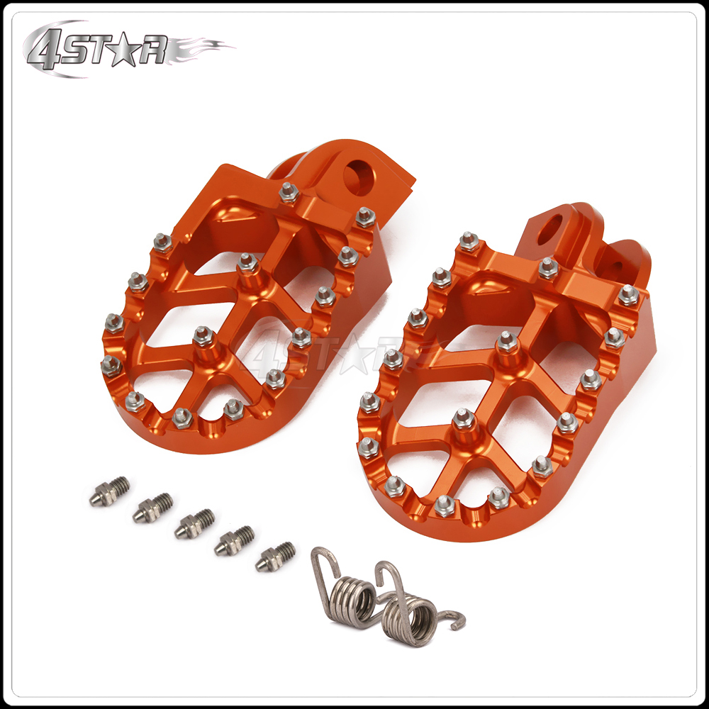 Billet MX Foot Pegs Rests Pedals For KTM EXC SX SXF XC XCF XCW EXCF EXCW XCFW MX 65 85 125 200 250 300 350 400 450 525 530 950 цена