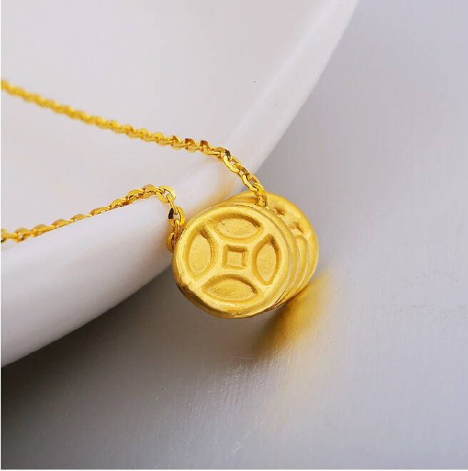 цена на 999 24K Yellow Gold 3D Coin Pendant 0.51g