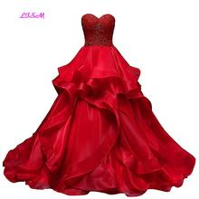 Real Photos Red Sweetheart Quinceanera Dress Organza Ruffled Party Gowns 2019 New Arrival Ball Gown Long Prom Dresses