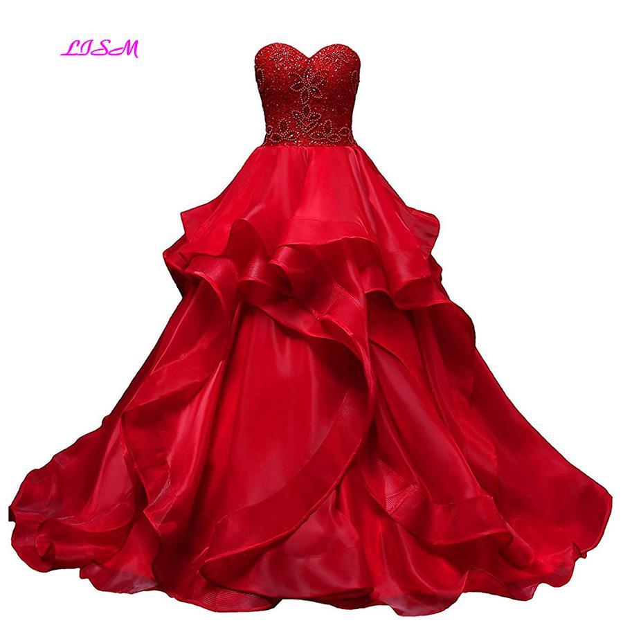 Vraies Photos rouge chérie Quinceanera robe Organza à volants robes de soirée 2019 nouveauté robe de bal longues robes de bal