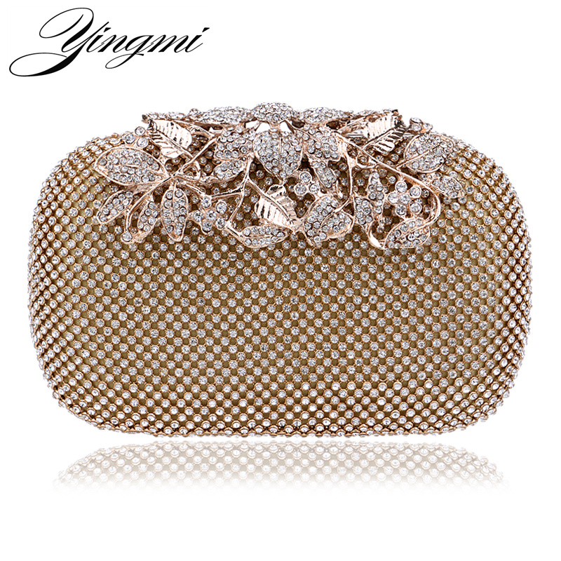 YINGMI Fashion Women Evening Bag Metal Diamonds Day Clutch Silver/Black/Gold Chain Shoulder Small Handbags For Wedding Party Bag silver metal lady fashion evening bag silver stylish day clutches prom ladies handbag yls g74