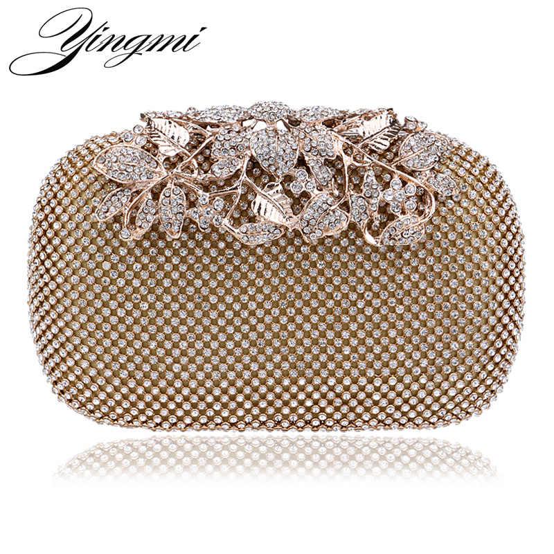 f9e086b34ea8c YINGMI Fashion Women Evening Bag Metal Diamonds Day Clutch Silver/Black/Gold  Chain Shoulder