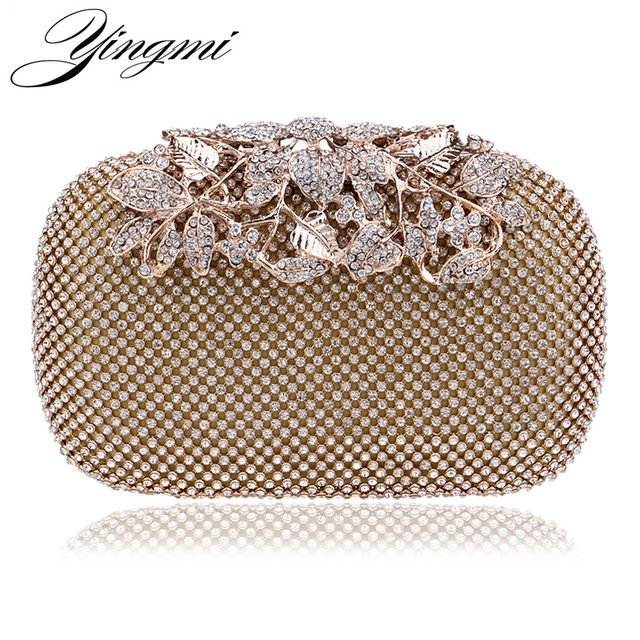 8ce3904d1 Flower Crystal Evening Bag Clutch Bags Leaf Metal Full Rhinestones Evening  Bags Silver Black Gold Diamonds