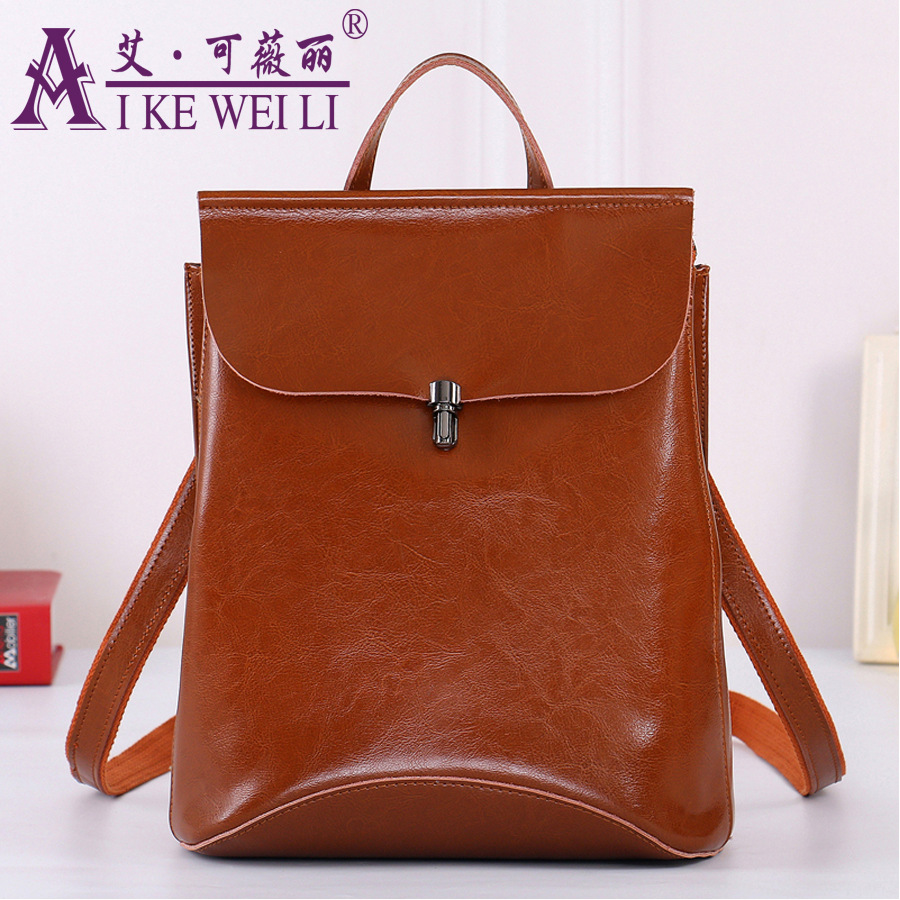 Brief Hardware Lockbutton Genuine Leather Backpack Genuine Leather Fashion Wax Cowhide Women s Multifunctional
