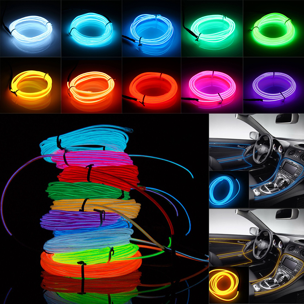 Cheap Outdoor Led Lights: 8pcs 2m/3m/5m Flexible Neon Light EL Wire Rope Tube Battery Operated  christmas,Lighting