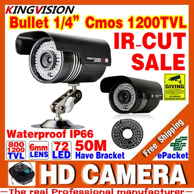 72led Hd Infravermelho de Visão Noturna 50 m 1/3 cmos 1200TVl CCTV Segurança Câmera Analógica Interior Ao Ar Livre IP66 À Prova D' Água cor ahdl Vídeo