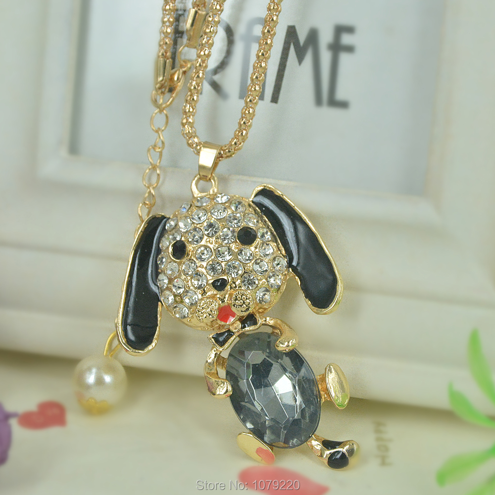 Z Dog Bead Sweater Necklace Jewelry Crystal For Women Long Necklace Pendants Rhinestone Chain Christmars Valentines Days Gift