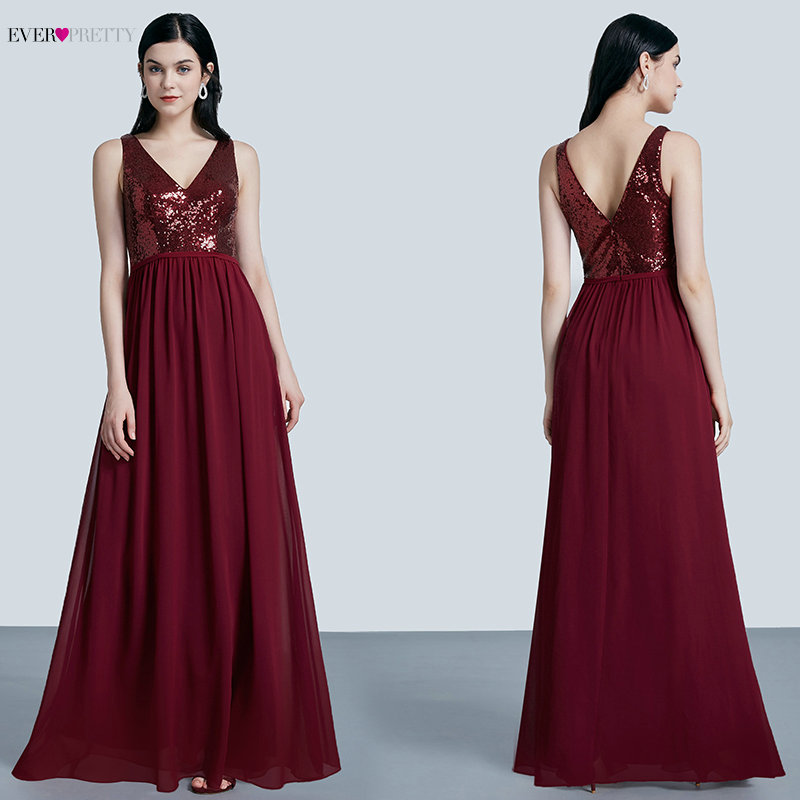 Ever Pretty Robe De Soiree 2019 New Fashion Sequins Chiffon Long   Evening     Dresses   Elegant A Line Burgundy Party Gowns EP07346BD